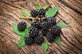 Blackberries on wooden background Stock Image