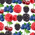 Blackberry blueberry cherry and raspberry seamless pattern. 3d realistic vector berries.