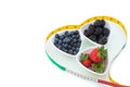 Blackberry, Blueberry, strawberry with tape, diet Royalty Free Stock Photo