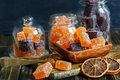 stock image of  BlackBerry and citrus marmalade are homemade.
