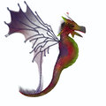 Blackberry faerie dragon a creature of myth and fantasy the is a friendly animal with horns and wings Royalty Free Stock Image