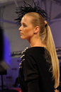 Blackberry fashion show a model walks the catwalk during a by michal starost at play warsaw weekend on october in warsaw poland Stock Images