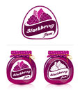 Blackberry jam label with jar for labels and designs Royalty Free Stock Photo