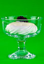 Blackberry meringue a with yogurt and a in a glass bowl Stock Images