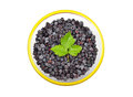 Blackberry rubus in glass bowl isolated on white background Stock Photography