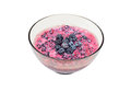 Blackberry (rubus) with sour cream Stock Photo