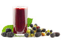 Blackberry smoothie glass with and blackberries on white Stock Images