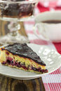 Blackberry vanilla custard tart slice of on rustic background Stock Photography