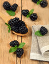 Blackberry on wood sweet wooden table Stock Photo