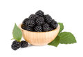 Blackberry in wooden bowl Stock Images