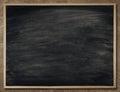 Blackboard Background in Wood Frame, Blank Chalkboard Wall, School Black Board Texture