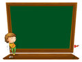 A blackboard with a boy playing golf illustration of on white background Stock Photo