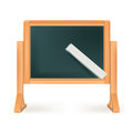 Blackboard with chalk isolated on white Stock Photos