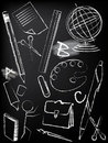 Blackboard with children sketch Royalty Free Stock Images