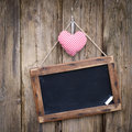 Blackboard, cloth heart Royalty Free Stock Image