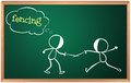 A blackboard with a drawing of two boys fencing Royalty Free Stock Photo