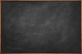 Blackboard empty wooden framed with chalk smears scratches and faded remains of previous writings Royalty Free Stock Photos