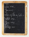 Blackboard english lessons on a handwritten Stock Images