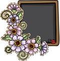 Blackboard with flowers and ladybug