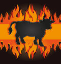 blackboard grill menu card cow bull fire board