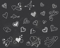 Blackboard with hearts vector. Royalty Free Stock Photo