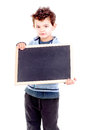 Blackboard little boy holding a isolated in white Royalty Free Stock Photo