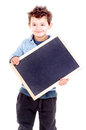 Blackboard little boy holding a isolated in white Royalty Free Stock Image