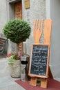 The blackboard with menu at italic restaurant aosta italy july Royalty Free Stock Photo