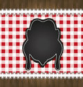 Blackboard menu tablecloth lace chicken Royalty Free Stock Photo