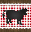 Blackboard menu tablecloth lace cow bull Royalty Free Stock Photo
