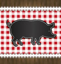 Blackboard menu tablecloth lace pig Royalty Free Stock Photo