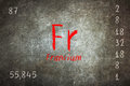 blackboard with periodic table, Francium