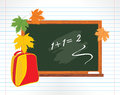 Blackboard and school backpack with maple leaves Stock Images