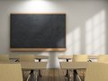 Blackboard school desks background Stock Image