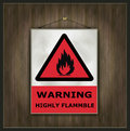 Blackboard sign warning highly flammable wood