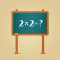 Blackboard with simple multiply and equation formula written by white chalk math illustration Stock Image