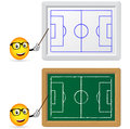 Blackboard and slat board with football teacher Stock Photos