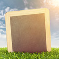 Blackboard in spring grass with sky and sun background Royalty Free Stock Photography