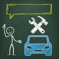 Blackboard Stickman Car Repair Shop Speech Bubble Royalty Free Stock Photo
