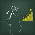 Blackboard stickman conquers rift chart with and big and yellow Royalty Free Stock Photos