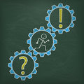 Blackboard Stickman Runs Gear Question Answer Royalty Free Stock Photo