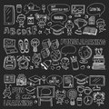 Blackboard Vector doodle set Children language school Kindergarten kids Pattern with doodle kids drawing style icons Royalty Free Stock Photo
