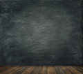 Blackboard Wall Wood Floor Background, School Black Board Royalty Free Stock Photo