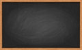 Blackboard in wooden frame vector slate a with chalk smudges and scratches Royalty Free Stock Photos