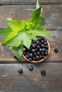 Blackcurrants in bowl of fresh black currants on wooden table Royalty Free Stock Photography