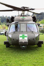 Blackhawk helicopter medical evacuation front view some natural and manmade disasters require rescue services this is a being used Royalty Free Stock Photos