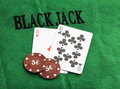Blackjack with betting chips ace and ten Stock Photography
