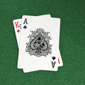 Blackjack on the green table Royalty Free Stock Image
