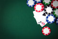 Blackjack playing cards and casino poker chips Stock Photography