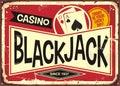 Blackjack retro casino sign Royalty Free Stock Photo